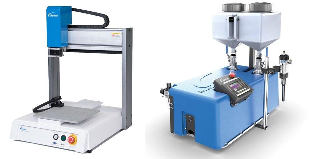 Adhesive Metering (Rockingham) Systems demo tabletop dispensing robot